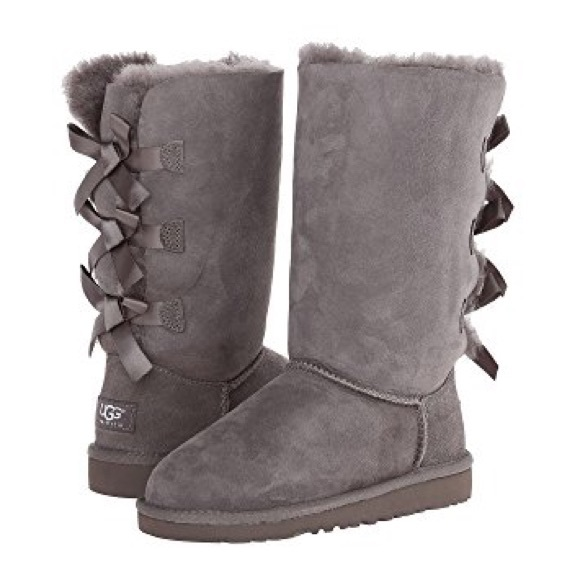 182a06402ad UGG Kids Bailey Bow Tall Boots Gray